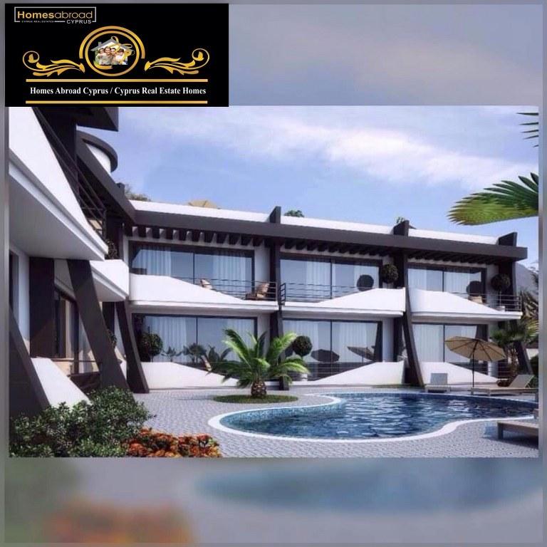 Sea Side 1 Bedroom Apartment For Rent Location Lapta Coastal Walkway (Lapta Yuruyus Yolu) Girne (Communal Swimming Pool)